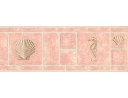 Conch and Sea Horse Wallpaper Border MKB5059