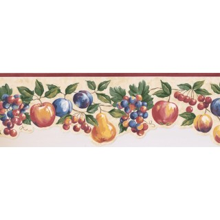 6 1/2 in x 15 ft Prepasted Wallpaper Borders - Fruits Wall Paper Border MM74652B