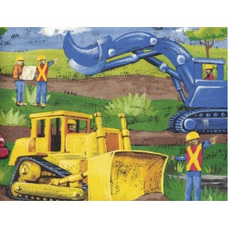 10 1/4 in x 15 ft Prepasted Wallpaper Borders - Construction Vehicles Wall Paper Border MN5032