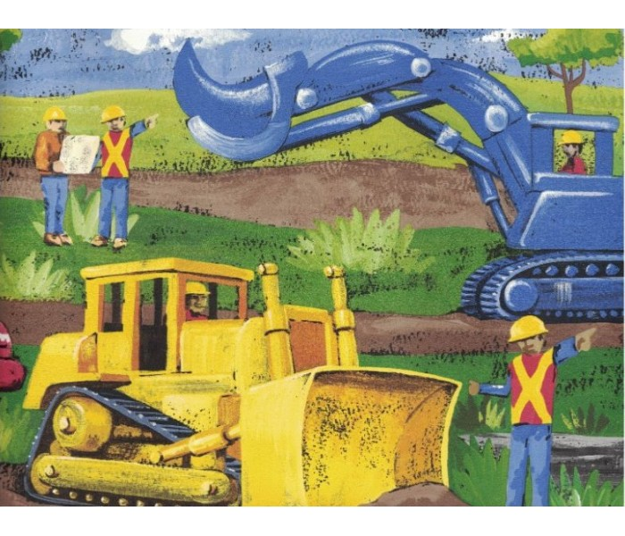 New  Arrivals Wall Borders: Construction Vehicles Wallpaper Border MN5032