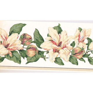 10 1/4 in x 15 ft Prepasted Wallpaper Borders - Floral Wall Paper Border MV2908B