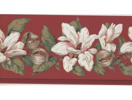 10 1/4 in x 15 ft Prepasted Wallpaper Borders - Floral Wall Paper Border MV2910B