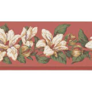 10 1/4 in x 15 ft Prepasted Wallpaper Borders - Floral Wall Paper Border MV2913B