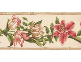 9 in x 15 ft Prepasted Wallpaper Borders - Floral Wall Paper Border NG8026B