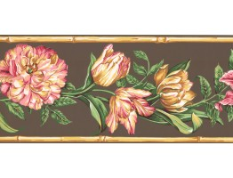 9 in x 15 ft Prepasted Wallpaper Borders - Floral Wall Paper Border NG8027B