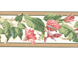 9 in x 15 ft Prepasted Wallpaper Borders - Floral Wall Paper Border NG8057