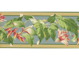 9 in x 15 ft Prepasted Wallpaper Borders - Floral Wall Paper Border NG8058B
