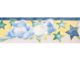 Prepasted Wallpaper Borders - Sun, Star and Moon Wall Paper Border NK74842DA