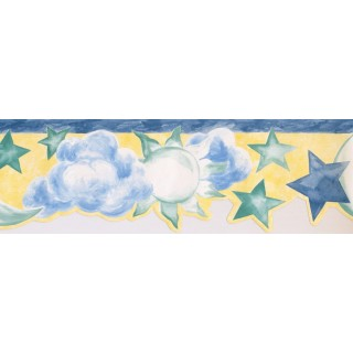 6.2 in x 15 ft Prepasted Wallpaper Borders - Sun, Star and Moon Wall Paper Border NK74842DA