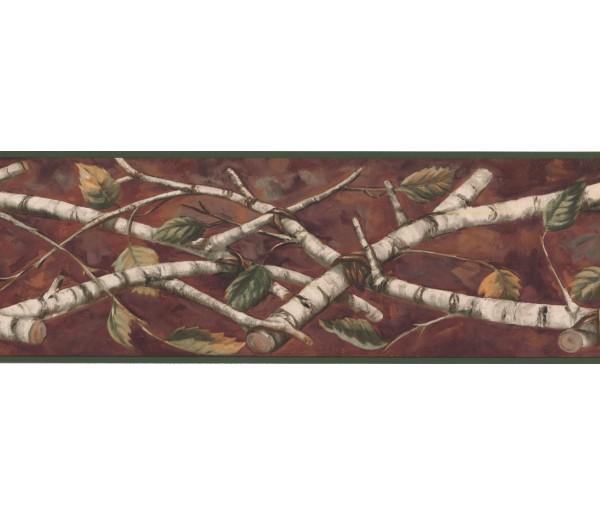 Prepasted Wallpaper Borders - Leaves Wall Paper Border NM6670B
