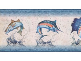 Prepasted Wallpaper Borders - Fishes Wall Paper Border NM6813B