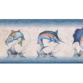 10 1/2 in x 15 ft Prepasted Wallpaper Borders - Fishes Wall Paper Border NM6813B
