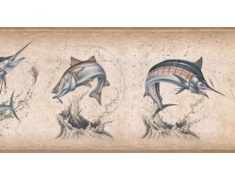10 1/2 in x 15 ft Prepasted Wallpaper Borders - Fish Wall Paper Border NM6814B