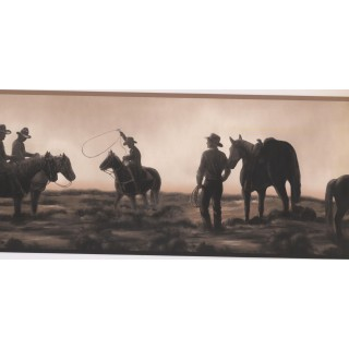 9.1 in x 15 ft Prepasted Wallpaper Borders - Horses Wall Paper Border NM6837B