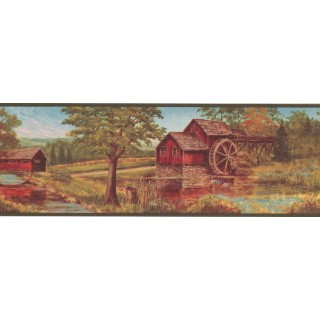 7 in x 15 ft Prepasted Wallpaper Borders - Country Wall Paper Border NM6841B
