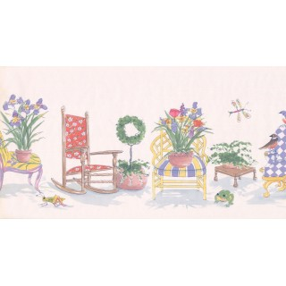 10 1/4 in x 15 ft Prepasted Wallpaper Borders - Garden Wall Paper Border OR164B
