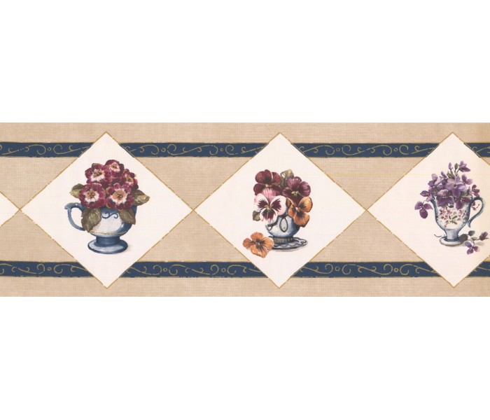 New  Arrivals Wall Borders: Floral Wallpaper Border OS2003B