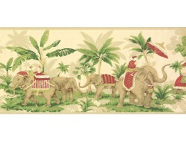 Prepasted Wallpaper Borders - Elephant Wall Paper Border OT4001B