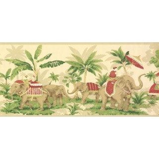 9 in x 15 ft Prepasted Wallpaper Borders - Elephant Wall Paper Border OT4001B