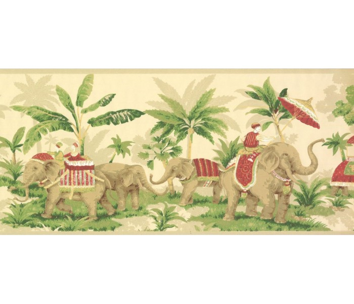 New  Arrivals Wall Borders: Elephant Wallpaper Border OT4001B