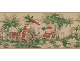 Prepasted Wallpaper Borders - Elephant Wall Paper Border OT4003B