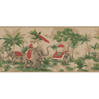 9 in x 15 ft Prepasted Wallpaper Borders - Elephant Wall Paper Border OT4003B
