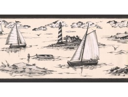 Prepasted Wallpaper Borders - Ships Wall Paper Border PE602B
