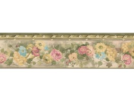 5 1/4 in x 15 ft Prepasted Wallpaper Borders - Floral Wall Paper Border PP76550