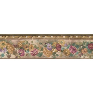 5 1/4 in x 15 ft Prepasted Wallpaper Borders - Floral Wall Paper Border PP76552