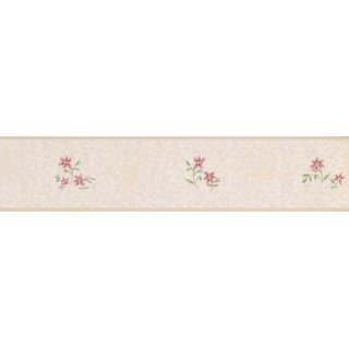 4.125 in x 15 ft Prepasted Wallpaper Borders - Floral Wall Paper Border PP79063