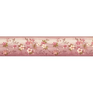 4.125 in x 15 ft Prepasted Wallpaper Borders - Floral Wall Paper Border PP79071