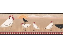 Prepasted Wallpaper Borders - Roosters Wall Paper Border PV5170B