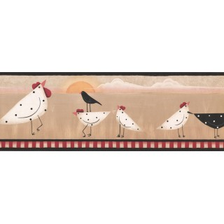 7 in x 15 ft Prepasted Wallpaper Borders - Roosters Wall Paper Border PV5170B