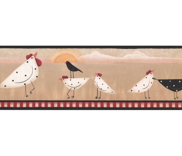 New  Arrivals Wall Borders: Roosters Wallpaper Border PV5170B