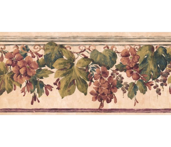 New  Arrivals Wall Borders: Floral Wallpaper Border PZ1017B