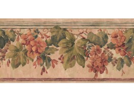 9 1/4 in x 15 ft Prepasted Wallpaper Borders - Floral Wall Paper Border PZ1018B