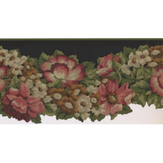 10 1/4 in x 15 ft Prepasted Wallpaper Borders - Floral Wall Paper Border PZ1218B