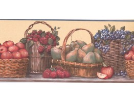 9 1/8 in x 15 ft Prepasted Wallpaper Borders - Fruits Wall Paper Border RC005162B