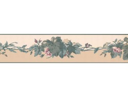 5 in x 15 ft Prepasted Wallpaper Borders - Floral Wall Paper Border RC5354B