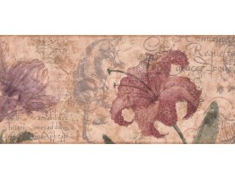 Prepasted Wallpaper Borders - Floral Wall Paper Border RG3702B