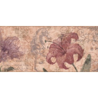 9 in x 15 ft Prepasted Wallpaper Borders - Floral Wall Paper Border RG3702B