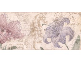 Prepasted Wallpaper Borders - Floral Wall Paper Border RG3703B