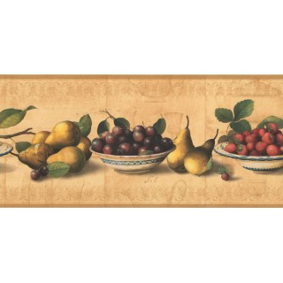 9 in x 15 ft Prepasted Wallpaper Borders - Fruits Wall Paper Border RG3781B