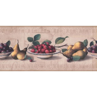 9 in x 15 ft Prepasted Wallpaper Borders - Fruits Wall Paper Border RG3784B