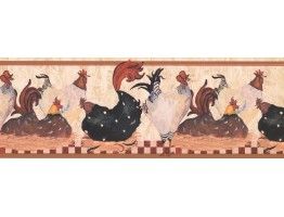 Prepasted Wallpaper Borders - Roosters Wall Paper Border RG3842B
