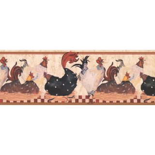 7 in x 15 ft Prepasted Wallpaper Borders - Roosters Wall Paper Border RG3842B