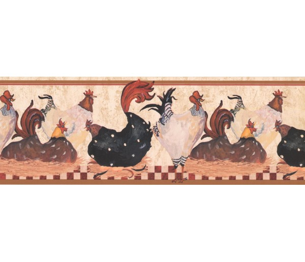New  Arrivals Wall Borders: Roosters Wallpaper Border RG3842B