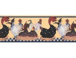 Prepasted Wallpaper Borders - Roosters Wall Paper Border RG3843B