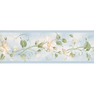 7 in x 15 ft Prepasted Wallpaper Borders - Floral Wall Paper Border RY3252B