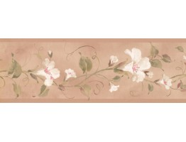 7 in x 15 ft Prepasted Wallpaper Borders - Floral Wall Paper Border RY3254B